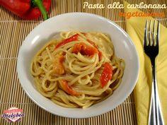 Pasta alla carbonara vegetariana #pastasciutta #foodporn #veggy #pepper #peperoni #italian #food