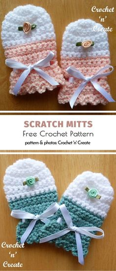 Scratch Mitts Free Crochet Pattern - Baby clothing boy, Baby clothing girl, Gender neutral and baby clothing Crochet Baby Mittens, Crochet Baby Clothes, Baby Girl Crochet, Baby Knitting, Free Crochet, Crochet Hats, Crochet Baby Stuff, Free Baby Crochet Patterns, Crochet Baby Bonnet