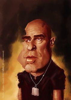 Caricatura de Marlon Brando en Apocalypse Now.