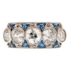 Art Deco 5-Stone Diamond Sapphire Classic Platinum Ring | From a unique collection of vintage three-stone rings at https://www.1stdibs.com/jewelry/rings/three-stone-rings/