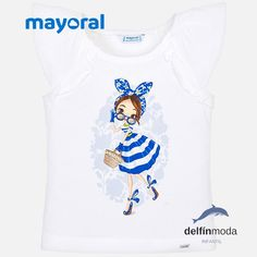 927a96a3c Camiseta de niña MAYORAL manga sisa volantes blanca Camisetas Niño,  Volantes, Delfines, Moda