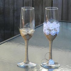 Rustic Wedding Glasses. Wedding Bride & Groom Glasses. Shabby