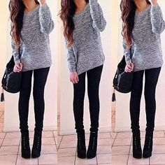 Chunky salt and pepper knit sweater with black skinny jeans and black heeled boots. To die for.