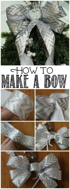 Easy tutorial on how to make a big bow for a wreath or other Christmas decor.