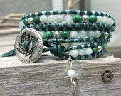 Handmade Gemstone Leather Wrap Nature Bracelet - Serenity - Success - Prosperity