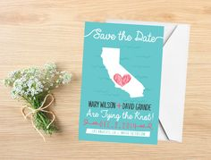 State Save the Date Postcard, California, state map by InvitesbyRsquared on Etsy https://www.etsy.com/listing/213682923/state-save-the-date-postcard-california