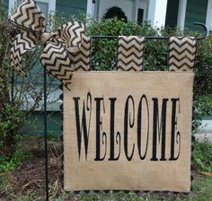 Burlap Garden Flag  Welcome Flag  Matching by sewgoddesscreations, $25.00