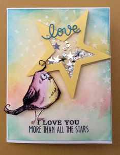 Homemade shaker card with Tim Holtz Crazy Bird die