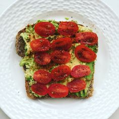 Good morning!  Start your healthy eating today. This weekend. Why not?  Try my #homemade #healthybreakfast #avocadotoast : 1 slice Eli's #healthbread 1/4 avocado, sliced tomatoes, drizzle #oliveoil , squeeze #lemonjuice and dash of salt, pepper, and red pepper.  In festive colors of course. Enjoy!! #fiber #goodfat #antioxidants #lycopene