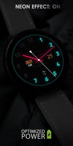 Digital Watch Face, Fancy Watches, Samsung Gear S3 Frontier, Unique Clocks, Watch Faces, Smart Watch, Neon, Fashion, Vintage Watches
