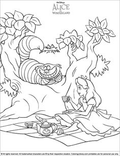 The best 40 Alice in Wonderland printable coloring pages. Find thousands of coloring pages in the Coloring Library. Jungle Coloring Pages, Coloring Sheets For Kids, Cat Coloring Page, Online Coloring Pages, Colouring Pics, Cartoon Coloring Pages, Disney Coloring Pages, Coloring Book Pages, Alice In Wonderland Drawings
