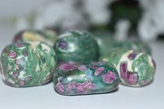 Ruby in Zoisite Tumbled Stone Crystal 1 pc. Anyolite  Reiki