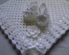 Crochet Baby Blanket and Baby Booties Set Gift Baby Christening Baptism Baby White Afghan White Flower