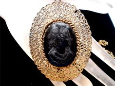 Antique Gold Filled Cameo Necklace Black Mourning Open Work Pendant  Art Deco