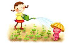 little girl watering