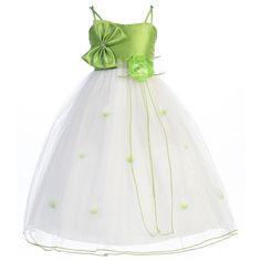 lime green flower girl dresses  dress in Taffeta and tulle. Girls ...