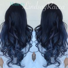 Black to grey slate blue ombre on extensions #blacktogreyombre #hair More
