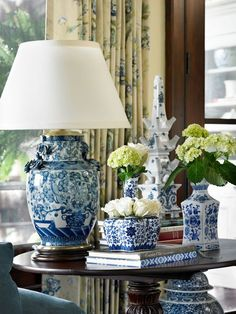 Lovely blue and white china lamp for living room (north carolina interior designer kathryn greeley) Ginger Jar Lamp, Ginger Jars, Blue And White China, Blue China, Home Interior, Interior Design, Interior Plants, Interior Ideas, White Home Decor