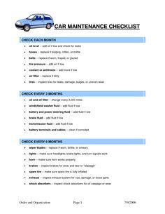 Free Printable Car Maintenance Checklist Car maintenance