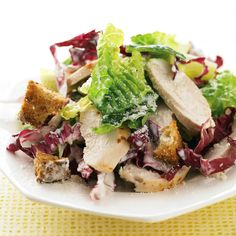 Unlike traditional Caesar salad, ours uses no oil in the dressing. Instead, it relies on tangy low-fat buttermilk. Multigrain croutons also help save on calories and splurge on flavor.