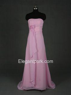 Pink Pencil Strapless Brush Train Chiffon Long Bridesmaid Dress (5178)$143.99