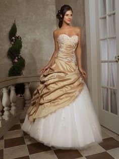 White & Gold Wedding Dress  i actually like this!!!