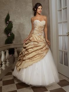White & Gold Wedding Dress  i actually like this!!!