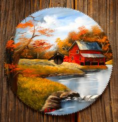Fall Red Mill Round Blade - Travel tips - Travel tour - travel ideas Autumn Painting, Tole Painting, Painting On Wood, Round Canvas, Vinyl Record Art, Barn Art, Painting Patterns, Painted Rocks, Painted Slate