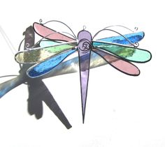 Soft Wings - Stained Glass Dragonfly Twirl - Medium Pastel Colorful Home Garden Decor Suncatcher 3Dimensional Yard Art Ornament Insect