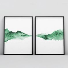 aquarelle Emerald Green Set of 2 Prints, 2 Piece Forest Green Wall Art, Abstract Art Poster Modern Bedroom Large Watercolour Print Set Inkwash Minimal Abstract Watercolor Art, Green Watercolor, Watercolor Print, Watercolor Illustration, Simple Watercolor, Tattoo Watercolor, Watercolor Trees, Watercolor Animals, Watercolor Background