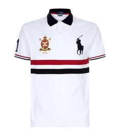Polo Ralph Lauren Logo Stripe Polo Shirt available to buy at Harrods.Shop clothing online and earn Rewards points. Mens Designer Polo Shirts, Mens Polo T Shirts, Camisa Polo, Ralph Lauren Shop, Polo Shirt Outfits, Polo Shirt Design, Boys Summer Outfits, Striped Polo Shirt, Printed Shirts