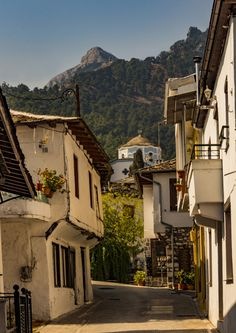 Village,Church, Mountains.