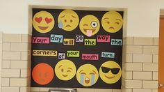 Motivational Emojis bulletin board for school hallway.