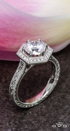 Antique Inspired Halo Engagement Ring. #GreenLakeJewelry