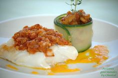 Cabillaud en crumble de chorizo, petite fondue d'aubergine