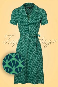 Today, every day, ALL DAY; you won't get enough of this 60s Bibi Icono Dress!You'll never get enough of dresses. This playful A-line dress features an amazing blouse-top with a small rounded lapel collar, green trims, short sleeves and a row of dark blue buttons. You'll feel like a real woman thanks to the tie strap which gives you a stunning feminine silhouette. Made from a soft, stretchy opal green viscose blend with an eyecatching blue retro print for a lovely fit. Bi...