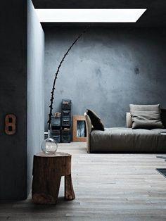 blue greyish room