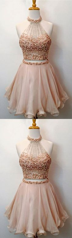 Cute A line two pieces short prom dress, homecoming dress