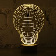 Studio Cheha in Tel Aviv, Israel is behind this innovative LED lamp that tricks your mind into thinking it's looking at a object. BULBING is a lamp created using wire-frame Wireframe, Lampe 3d, Led Lampe, Luminaire Led, Luminaire Design, 3d Light, Lamp Light, 3d Optical Illusions, Plexiglass