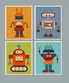 Set of 4 Prints  Nursery Art for Children Kids Wall art Baby Room Nursery Robots by ArtPompadoo (20.00 USD) http://ift.tt/1MBfAHQ