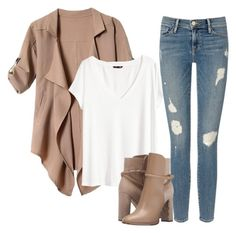 """""""#neutralstile #boots #cardigan #jeans"""" by d-conan on Polyvore featuring moda, H&M, Frame Denim e Burberry"""
