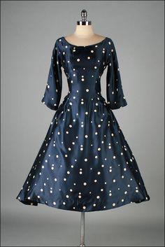 Vintage 1950s Dress Blue Satin