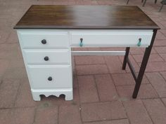 Here's how to make a boring desk look amazing with paint AND stain