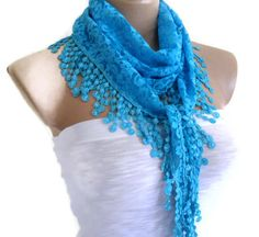 New collection! but Super limited! Very Special Fashion Lace Shawl with Trimming combines together! Very beautiful! It's unique design…. Turkish Fashion, Turkish Style, Handmade Gifts For Her, 2014 Trends, Lace Scarf, Scarf Styles, Knit Crochet, Scarves, Fashion Accessories