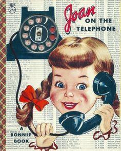 RARE 1950's Children's Bonnie Book~JOAN ON THE TELEPHONE