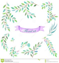 watercolor-set-floral-elements-collection-branches-green-leaves-painted-white-background-58894914.jpg (1300×1390)