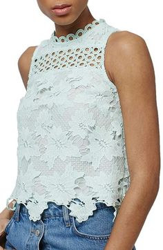 Topshop Floral Lace Shell Top available at #Nordstrom