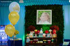 Festa lindinha azul e dourado para um aniversário de 1 aninho com o tema Pequeno Principe. Decoração: As Três Marias Doces, Arte em Balões: ...