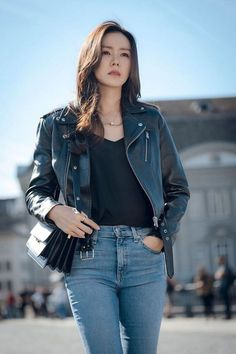 sister Sohn Ye-jin wearing a rider's jacket and popping jeans Mode Outfits, Korean Outfits, Fashion Outfits, Korean Actresses, Korean Actors, Korean Couple Photoshoot, Korean Girl, Asian Girl, Hyun Bin