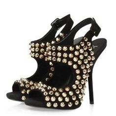 Cool Rivet Decorated Genuine Leather Stiletto Sandals